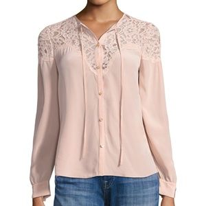 Rebecca Taylor Pink Silk & Lace Blouse - NWT